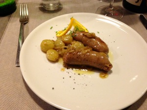 Sausage with white grapes