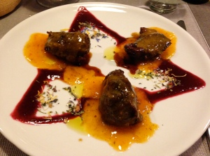 Slow cooked pork cheeks with persimmon and berry sauce